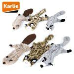 Karlie Plüsch-Hundespielzeug Wild Zoo Biber/Leopard/Waschbär Spielzeug Squeaker