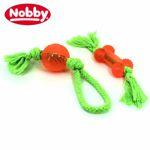 Nobby TPR BALL / KNOCHEN mit Seil - Apportierspiel Wurfspiel Kauspielzeug Hund