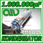 AIV Kondensator - Power Cap - 1 Farad - 1000000 µF - chrom - LED Anzeige blau