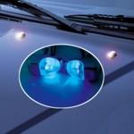 Scheibenwaschdüsen chrom Look - LED blau - 2 Stück Spritzdüsen/Waschdüsen - 12V