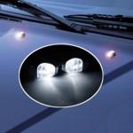 Scheibenwaschdüsen chrom Look - LED weiß - 2 Stück Spritzdüsen/Waschdüsen - 12V