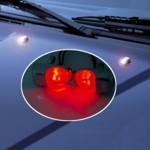 Scheibenwaschdüsen chrom Look - LED rot - 2 Stück Spritzdüsen/Waschdüsen - 12V