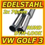 Edelstahl Sportauspuff - VW Golf 3 + Cabrio - poliert - 2x 76mm rund DTM-Look