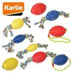 Karlie BOOMER - Gummi Hundespielzeug Kauspiel Apportierspiel Wurfspiel Seil
