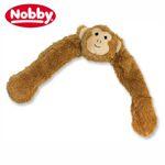 Nobby Hundespielzeug Plüsch-Affe mit Seil innen - Zerrspiel Kauspiel quitscht