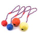 Nobby Vollgummi Ball mit Seil - Hundespiel Wurfseil Apportierspiel - mit Glocke