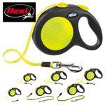 flexi NEW NEON XS/S/M/L Seil/Gurt-Leine - Hundeleine Flexileine Automatikleine