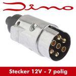 Dino Anhängerstecker 7 polig - metall - Stecker für Anhänger - 7 Kontakte