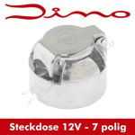 Dino Anhängersteckdose 7 polig - metall - Steckdose für Anhänger - 7 Kontakte