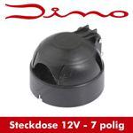 Dino Anhängersteckdose 7 polig - schwarz - Steckdose für Anhänger - 7 Kontakte