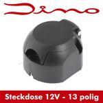Dino Anhängersteckdose 13 polig - schwarz - Steckdose für Anhänger - 13 Kontakte
